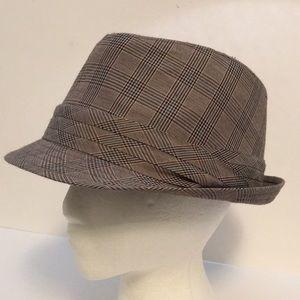 "Other - Fedora Hat Tartan Plaid Check Brown Fabric 7"" OS"